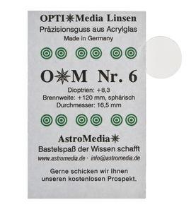 Kunststof lens nr.6, ø 16,5/brandpunt +120 mm