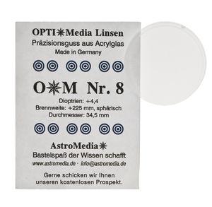 Kunststof lens nr.8, ø 34,5/brandpunt +225 mm