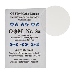 Kunststof lens nr.8A, ø 40,0/brandpunt +180 mm