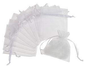 Organza zakjes, 8 x 10 cm, wit, 12 stuks