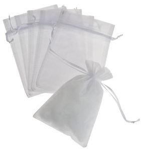 Organza-Beutel, 6 Stück weiß, (12 x 18 cm)