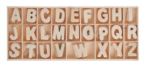 Houten alfabet A-Z, 5 stuks van elke letter