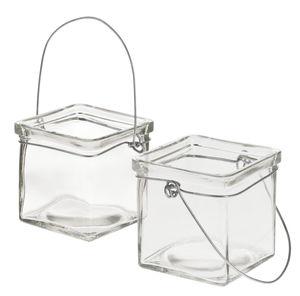 Glas-Windlichter zum Hängen, 2 Stück (75x75x75mm)