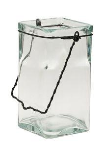 Glazen windlicht met hengsel,100 x 100 x 200 mm