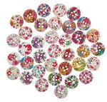 Houten knoopjes - Romantiek, 36 stuks