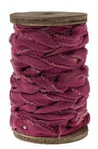 Dekoband Knotted cotton auf Holzspule, 3 m rosa