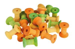 Holzspulen, 24er-Set grün/gelb/orange (2 x 3 cm)