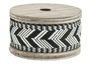 Dekoband auf Holzspule, 2 m Ethno schwarz/weiß