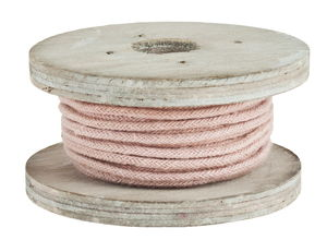Decoratief koord op houten spoel, 4 m x 2mm, roze