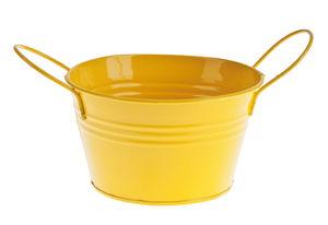 Cubo de metal con asas (140 x 80 mm) amarillo
