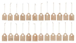 Houten hangers - Adventsgetallen 1-24, naturel