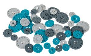 Filzknöpfe, 45 Stück grau/blau (20-40 mm)