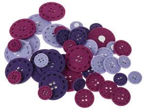 Filzknöpfe, 45 Stück lila Mix (20-40 mm)