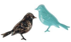 Metalen 'Vogels'(10x7 cm) zwart/goud/mint, 2 stuks
