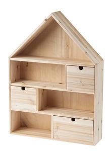 Houten mini huisje, met 3 lades (40 x 10 x 55 cm)
