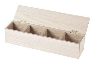 Houten box met 4 vakjes, naturel (30 x 7 x 7 cm)