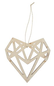 Ciondolo di legno - cuore, con ritagli geometrici