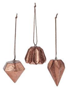 Colgantes de resina - Diamantes, color cobre, 3 ud