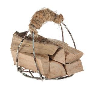 Miniatuur - houtblokken in mand van draad