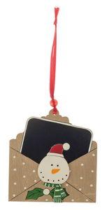 Houten hanger 'Envelop met schoolbord' - Sneeuwpop