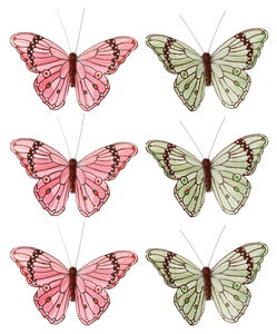 Deko-Schmetterlinge, 6er-Set lachs/grün (10 cm)
