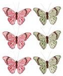 Vlinders met clip, zalm/groen (10 cm) 6 stuks