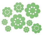 Legno - fiori, 3 misure diverse, verde menta