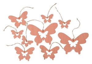 Houten hangers - Vlinder, 9 stuks