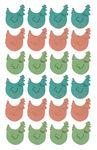 Houten strooidelen - Kippen (30 mm) 24 stuks