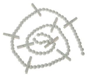 Houten kralen slinger met knijpers, wit (145 cm)