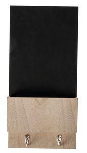 Houten schoolbord met bakje + haak (20x5,5x42 cm)