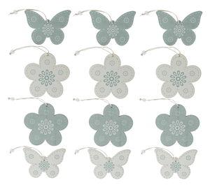 Legno-ciondoli primavera, bianco/grigio, set da 12