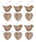 Houten hangers - Lente (8 cm) natuur/wit, 12 stuks