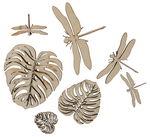 Streuteile Holz,   7 Stück Blätter & Libellen