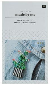 Schmuckset Brosche 'Brick Stitch Kaktus', grün