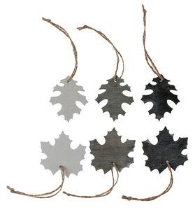 Houten hangers 'Blad' (5 cm) grijs/wit, 30 stuks