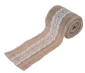 Juteband met kant 2 m (7,5 cm) naturel/wit