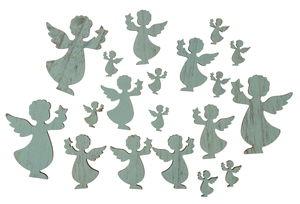 Houten strooidelen 'Engel' (2,5/6/8 cm) 19 stuks
