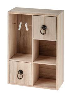Holz-Aufbewahrung mit 2 Schubladen (22x33x10 cm)