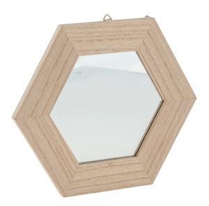 Spiegel mit Holzrahmen sechseckig (22 cm)