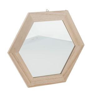 Miroir à cadre en bois hexagonal, A a...,