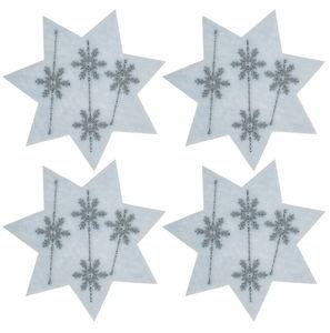 Filzsterne mit Eiskristallmotiv, 4 St.weiß (12 cm)