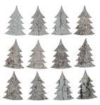 Birkenrinden-Tannenbäume, 12 Stück weiß (5,5 cm)