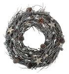 Reisigkranz mit Dekoration grau/silber (26 cm)