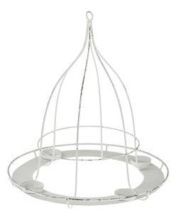 Metall-Hänger m. 4 Teelichthaltern weiß (39x42 cm)