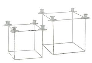 Metall-Kerzenhalter Square, 2er-Set weiß antik