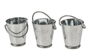 Miniatuur - metalen emmers (2 cm) zilver, 3 stuks