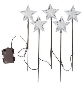LED sterren - op stokje (35 x 9 cm) 5 stuks