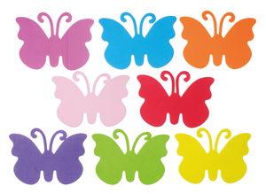Foam vlinders (15 x 11 cm) kleurrijk, 8 stuks