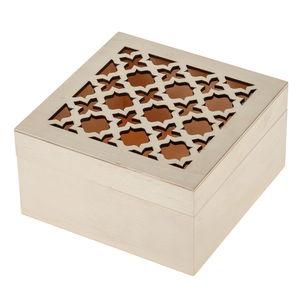 Boîte en bois oriental (15 x 15 x 8 cm)